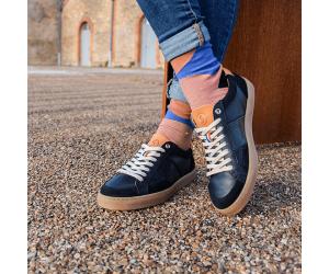 Sneaker Hiba Noir Sessile, vintage, cuir noir semelle miel origine France Garantie portée